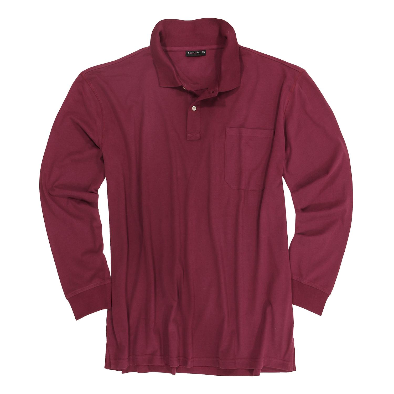 Detailbild zu Große Größen Langarm Poloshirt in rubinrot von Redfield bis 8XL