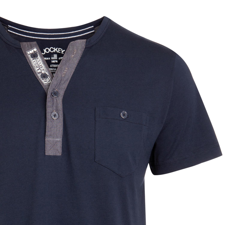 Detailbild zu Pyjama T-Shirt mit Knöpfen von Jockey navy erhältlich in S bis 6XL
