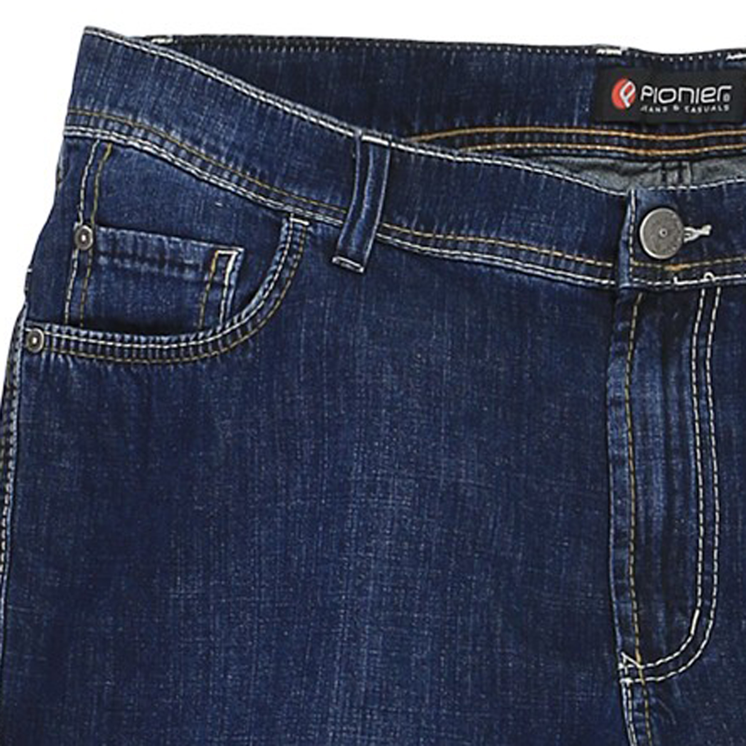 Detail Image to Short Jeans by Pionier in king sizes / dark blue