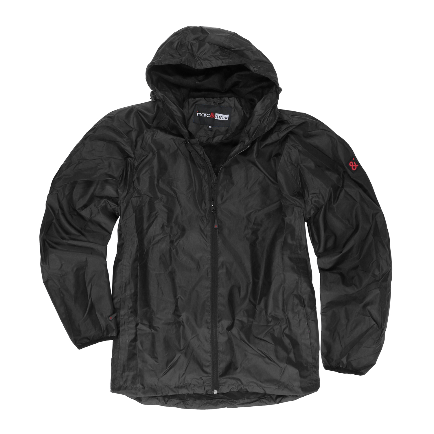 Detail Image to Black wind and rain jacket from marc&mark in plus sizes up to 12XL