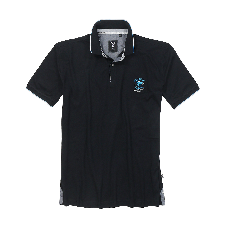 Detailbild zu Schwarzes Poloshirt Piqué Modern Fit von hajo in Übergrößen bis 6XL