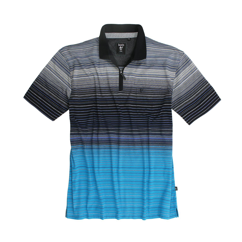 """Detailbild zu Schwarz/blau gestreiftes Poloshirt """"Stay Fresh"""" von hajo in Übergrößen bis 6XL"""