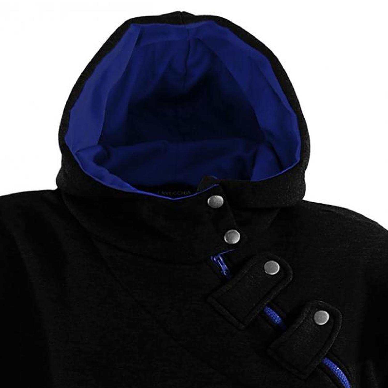 Detailbild zu Übergrößen Kapuzen Sweatshirt schwarz von Lavecchia bis 8XL
