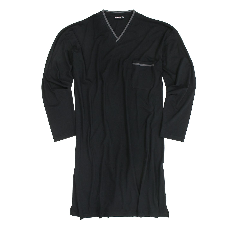 Detailbild zu Schwarzes Langarm-Nachthemd für Herren von Adamo in großen Größen bis 10XL
