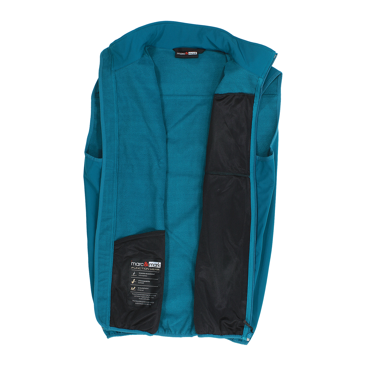 Detail Image to Softshell vest in petrol by marc&mark in plus sizes up to 10XL