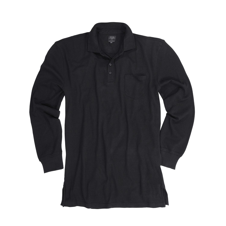 Detailbild zu Langarm-Poloshirt schwarz von Kitaro in Übergrößen bis 8XL