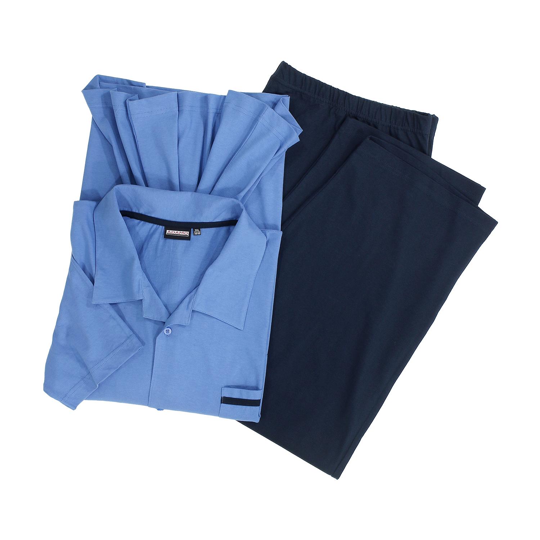 """Detailbild zu Langer Pyjama """"Benno"""" mit Knopfleiste in hellblau von Adamo in Übergrößen bis 10XL"""