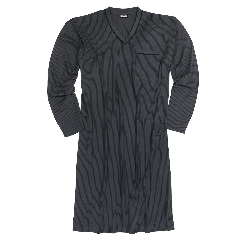 Detailbild zu Langarm-Nachthemd von Adamo in anthrazit mit schwarzen Streifen bis Übergröße 10XL