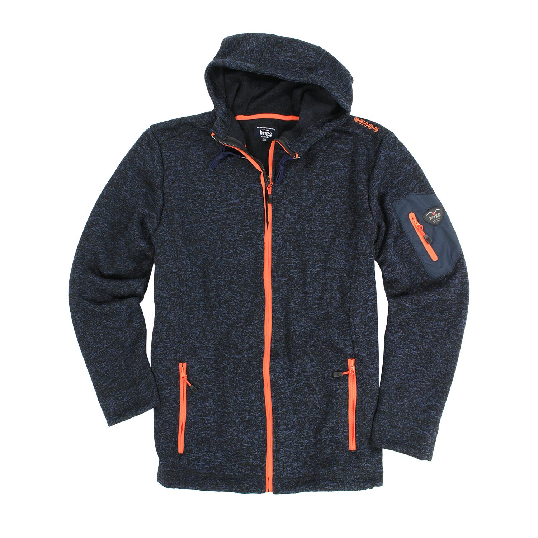 Detailbild zu Fleece-Jacke hooded by Brigg in melierter Strickoptik bis Übergröße 10XL - navy