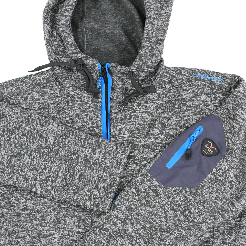 Detailbild zu Granitgraue Fleece-Jacke mit Kapuze in melierter Strickoptik von Brigg bis Übergröße 10XL