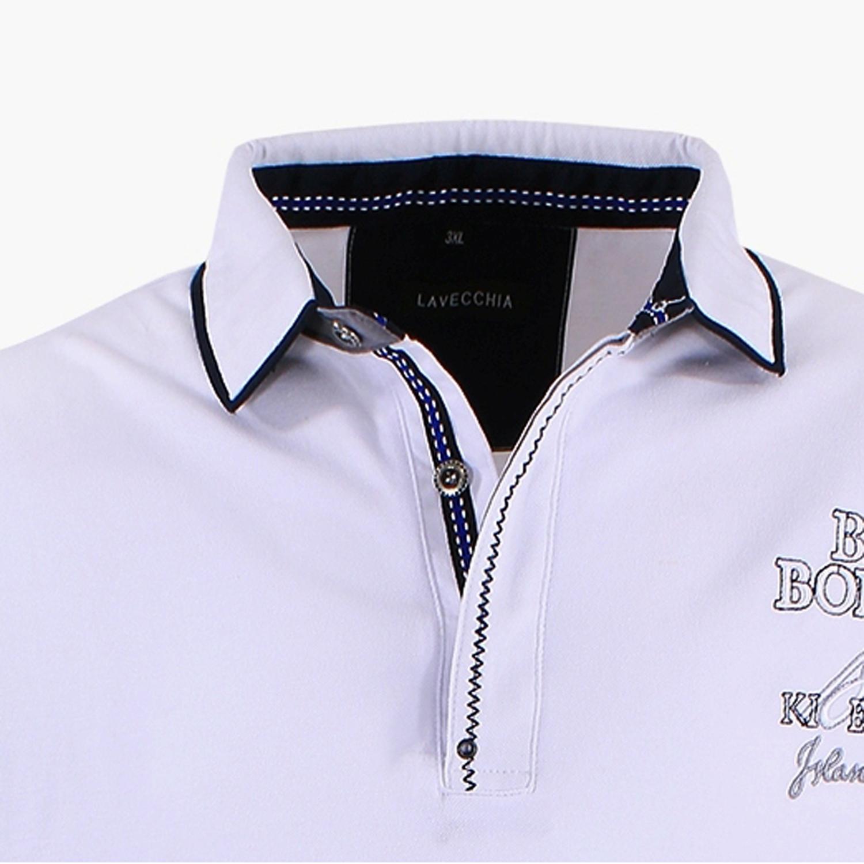 Detailbild zu Langarmpoloshirt in weiß von Lavecchia bis Übergröße 8XL