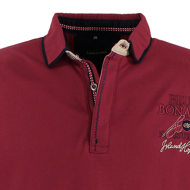 Detailbild zu Weinrotes Langarm-Poloshirt von Lavecchia in Übergrößen bis 8XL