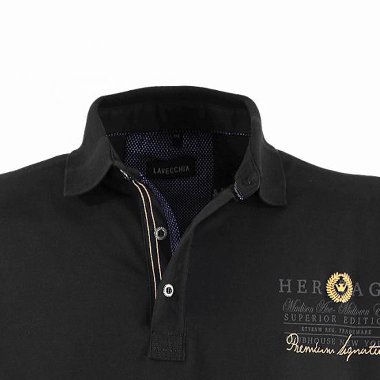 Detailbild zu Schwarzes Langarm-Poloshirt von Lavecchia in Übergrößen bis 8XL