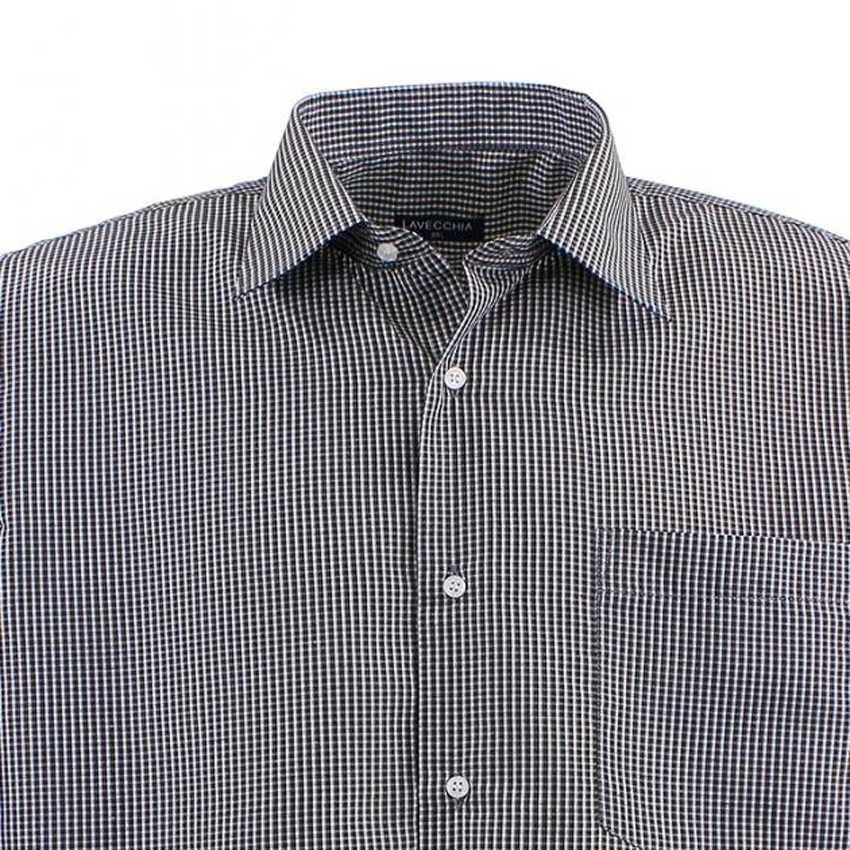 Detailbild zu Kariertes Langarm-Hemd schwarz/weiß in Übergrößen von Lavecchia bis 7XL