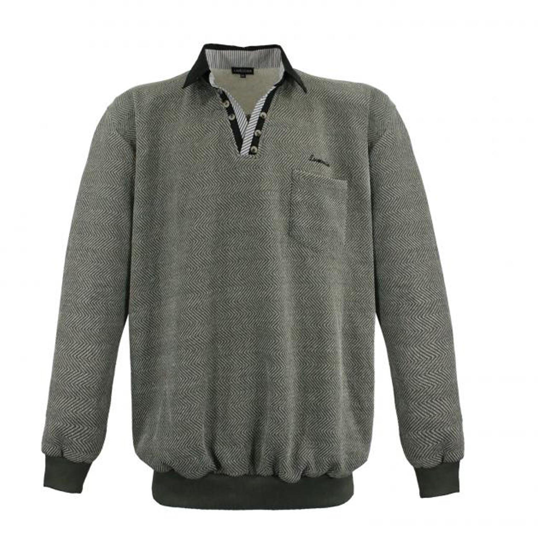 Detailbild zu Polo-Sweatshirt von Lavecchia in grau-khaki bis Übergröße 8XL