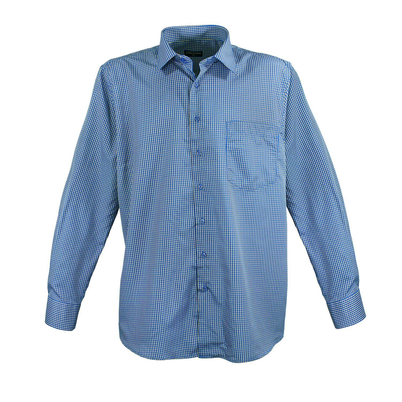 Detailbild zu Blau-kariertes Langarmhemd in Übergrößen von Lavecchia bis 7XL
