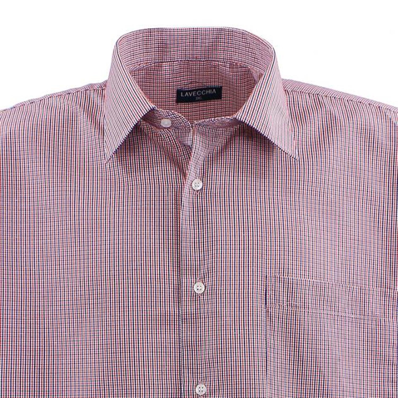 Detailbild zu Kariertes Langarmhemd rot/weiß/dunkelblau von Lavecchia in Übergrößen bis 7XL