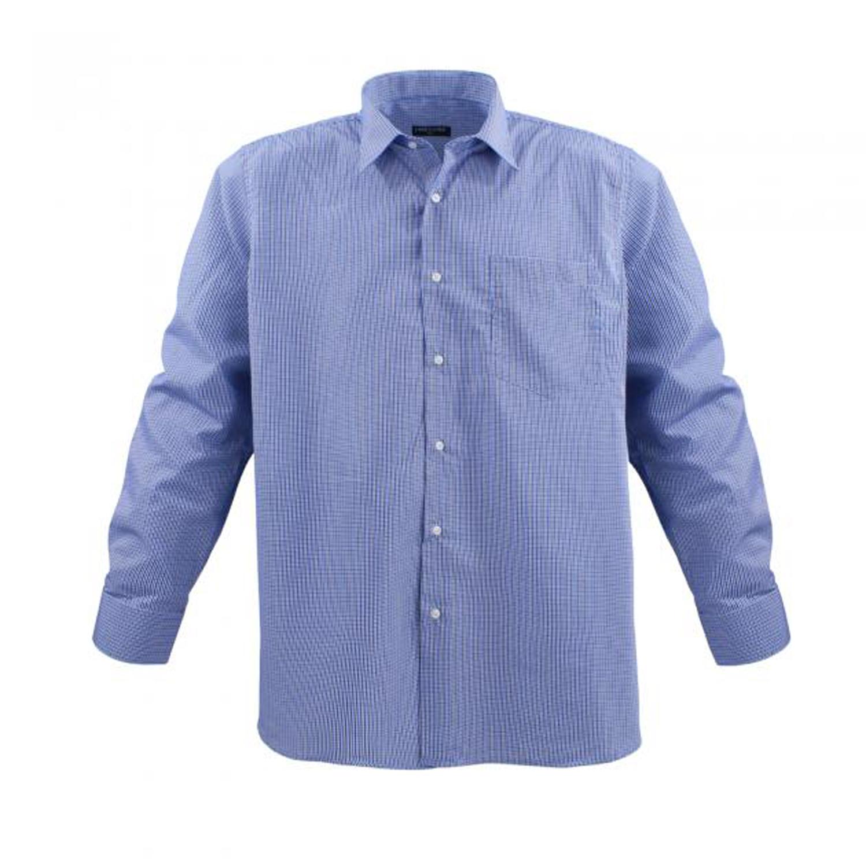 Detailbild zu Langärmliges Hemd in Übergrößen jeansblau/weiß kariert von Lavecchia bis 7XL