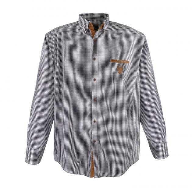 Image de détail de Chemise à carreaux noir-blanc de Lavecchia // grandes tailles jusqu'au 7XL