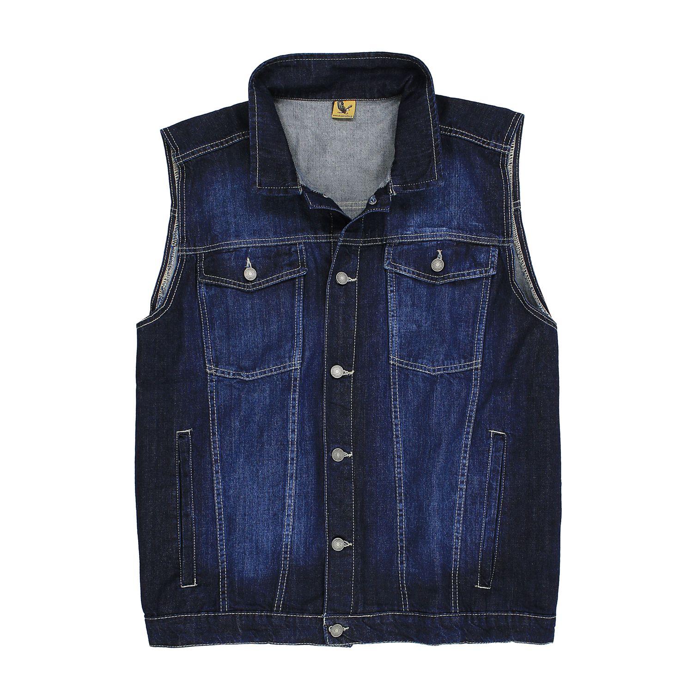 Detailbild zu Jeansweste dunkelblau stonewash von Abraxas in Übergrößen bis 12XL