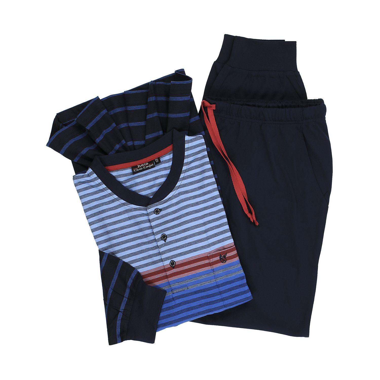 """Detailbild zu Langer Schlafanzug """"Klima Komfort"""" von Hajo blau gestreift in großen Größen bis 6XL"""