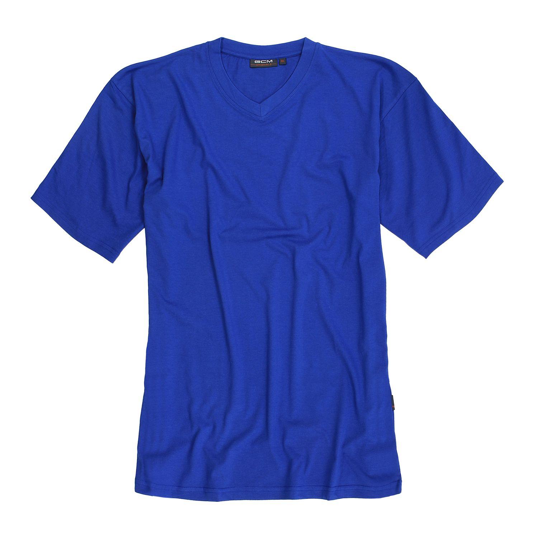 Detailbild zu Kurzärmliges V-Shirt in blau von GCM Originals in Übergrößen ab 3XL bis 6XL