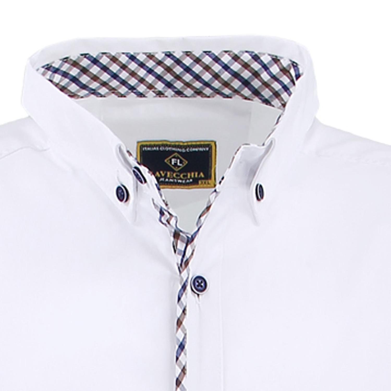 Detailbild zu Kurzarmhemd in weiß von Lavecchia bis Übergröße 7XL