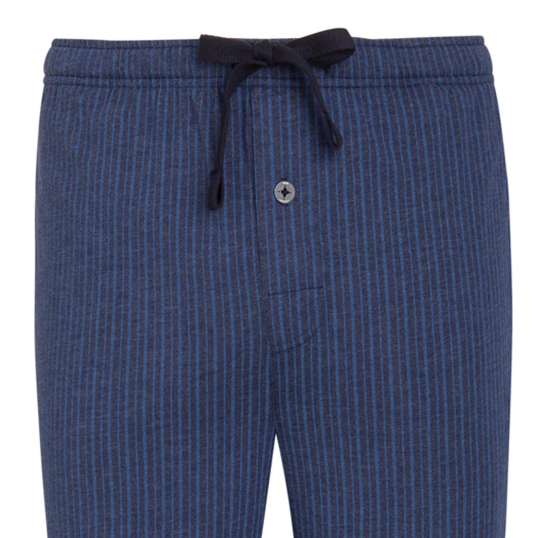 Detailbild zu Langer Herren Pyjama von Jockey in stahlblau-gestreift  bis Übergröße 6XL