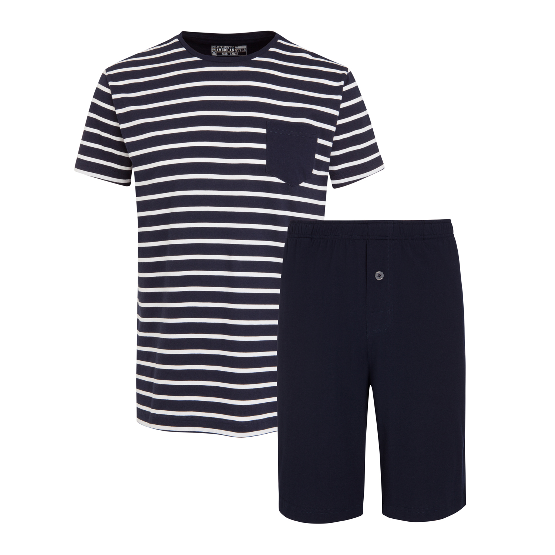 Detailbild zu Kurzer Herren Schlafanzug in dunkelblau gestreift von Jockey in Normal- und Übergrößen S - 6XL