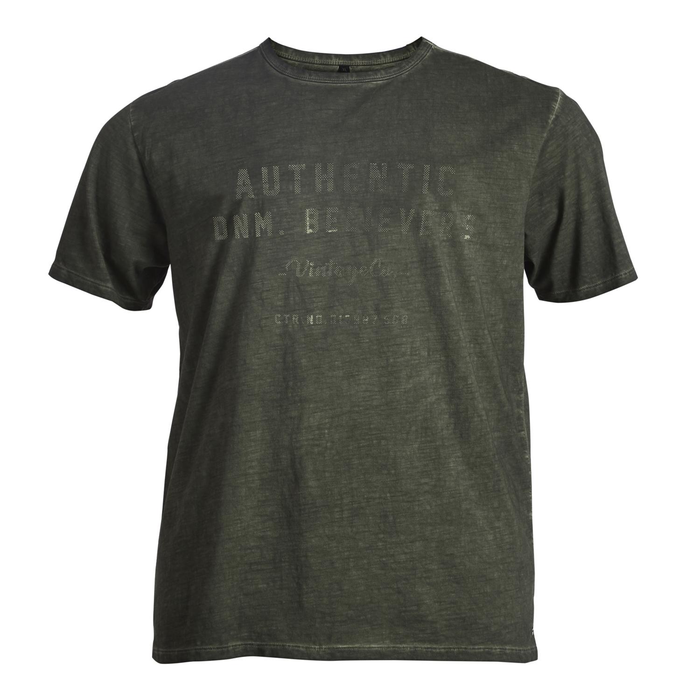 Detailbild zu Olivgrünes Herren T-Shirt in Flammgarnoptik von Replika in großen Größen bis 8XL