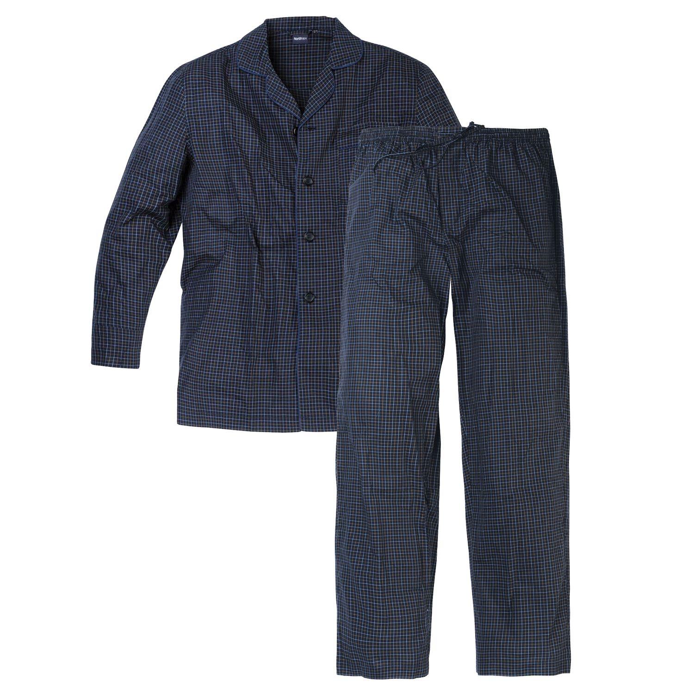 Detailbild zu Herren Schlafanzug lang von North 56°4 dunkelblau kariert in Übergrößen 3XL - 8XL
