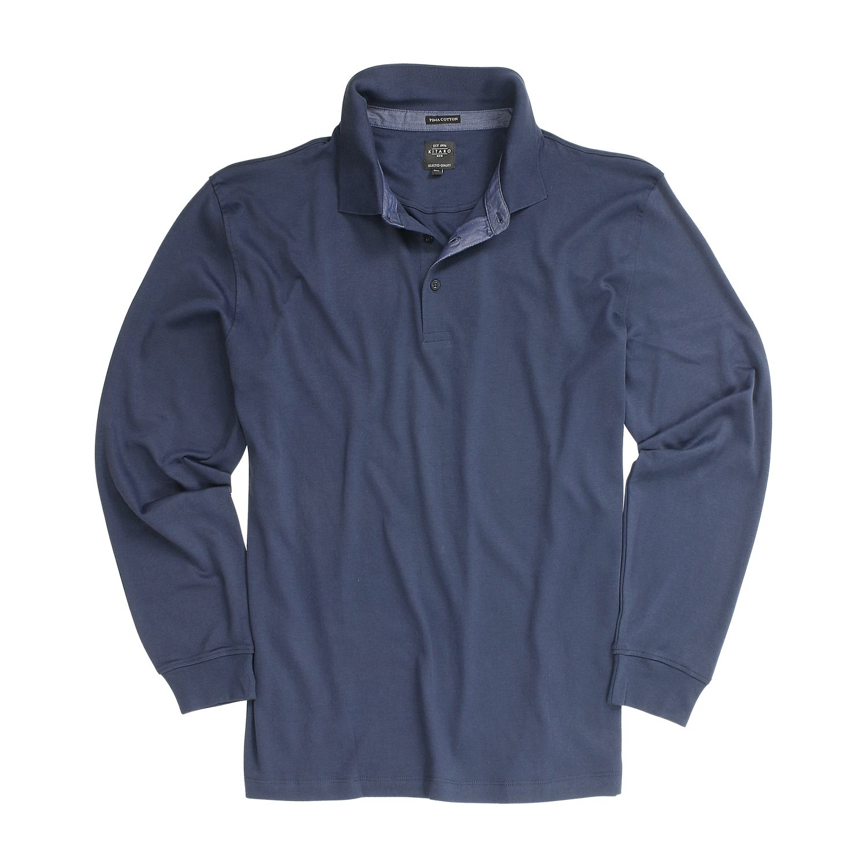 Detailbild zu Kitaro Langarm-Poloshirt in navy bis Übergröße 8XL
