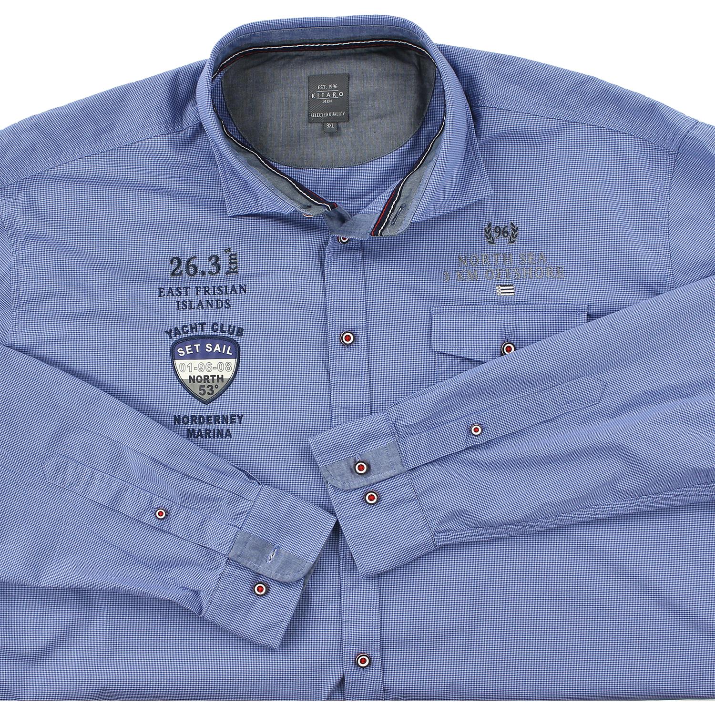 Image de détail de Chemise à carreaux bleu foncé-blanc de Kitaro // grandes tailles 3XL-8XL