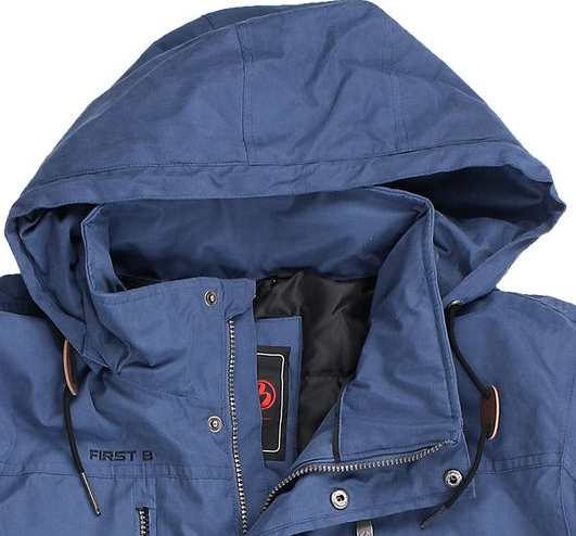 "Detail Image to Unisex padded jacket ""Floyd"" in jeans blue by First B up to oversizes 8XL"