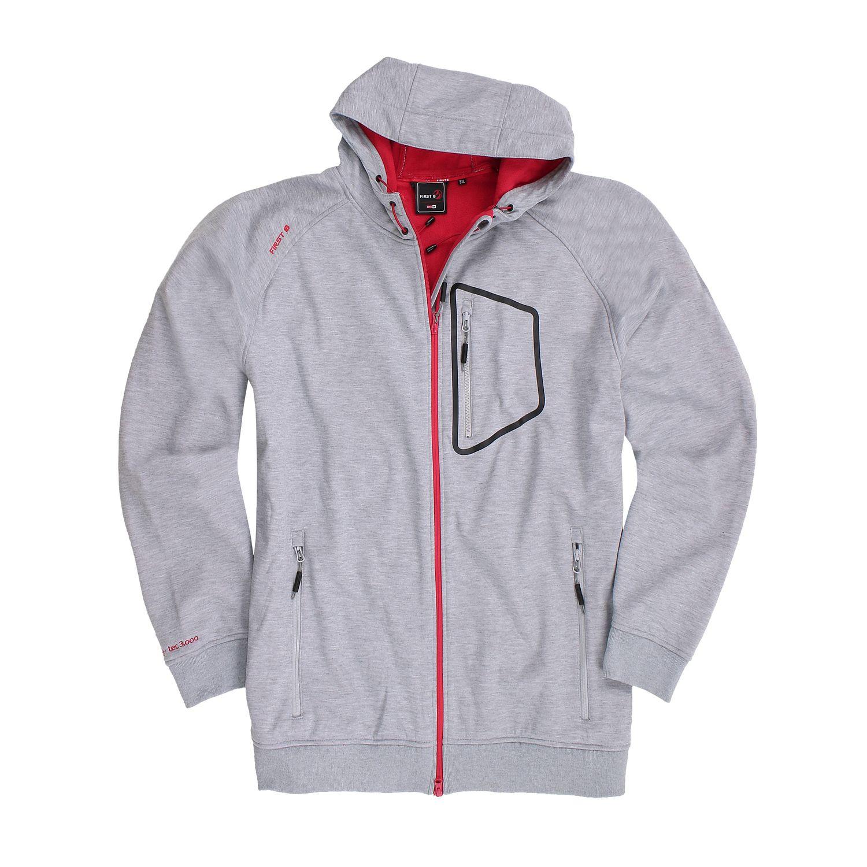 """Detailbild zu Unisex Softshell Jacke """"Birk"""" von First B graumeliert in Übergrößen 3XL - 6XL"""