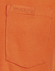 Detail Image to Orange pique poloshirt for men by Greyes/North 56°4 in oversizes up to 8XL
