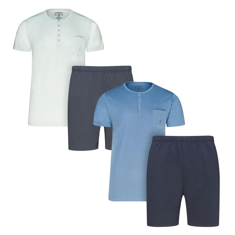 Herren Pyjama Schlafanzug kurz Shorty 100/% Baumwolle M L XL XXL 3XL Übergrösse