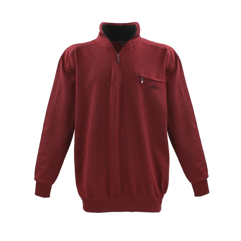 Detailbild zu Große Größen Sweatshirt für Herren bis 8XL bordeaux von Lavecchia mit Troyerkragen