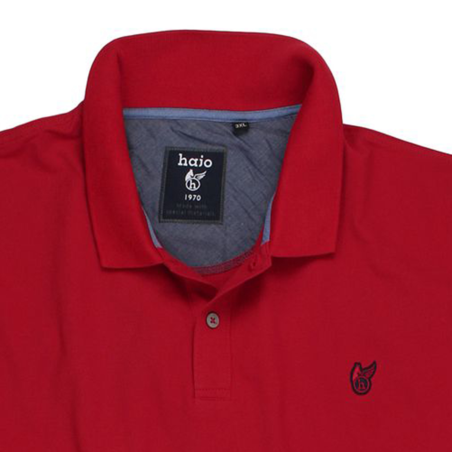 """Detail Image to Polo shirt """"stay fresh"""" by hajo in red up to oversize 6XL"""