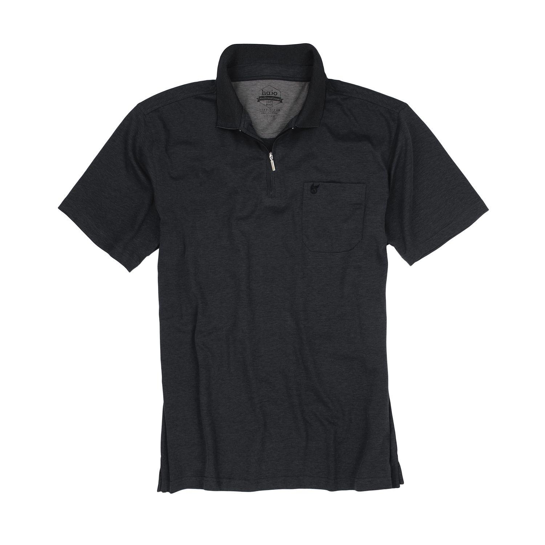 """Detailbild zu Schwarzes Herren Poloshirt """"Softknit"""" kurzarm meliert von Hajo in großen Größen 3XL-6XL"""