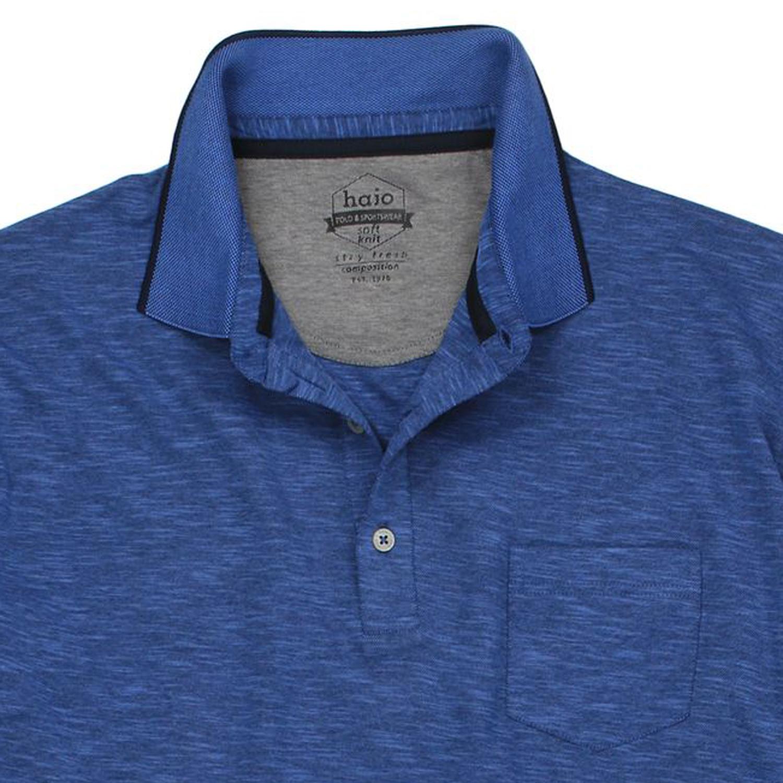 Detailbild zu Herren Kurzarm- Poloshirt Sofknit von hajo jeansblau meliert in großen Größen bis 6XL