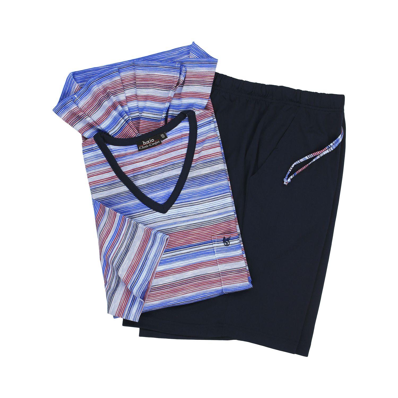 """Detailbild zu Marineblauer Herren """"Klima Komfort"""" Schlafanzug kurz gestreift von Hajo in Übergrößen 3XL bis 7XL"""
