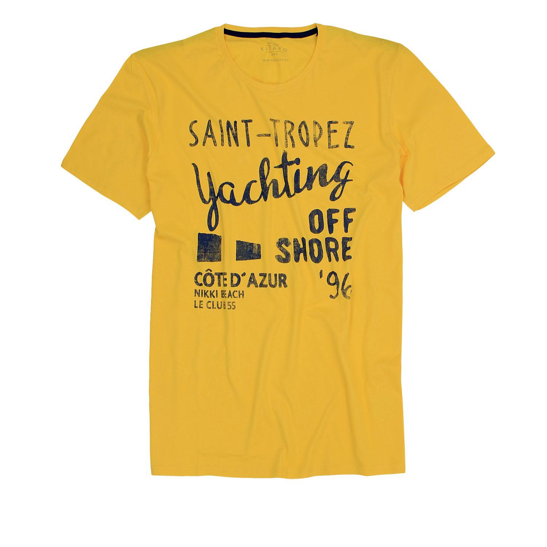 Detailbild zu Herren T-Shirt mit Rundhalsausschnitt in gelb von Kitaro in Übergrößen 3XL bis 8XL