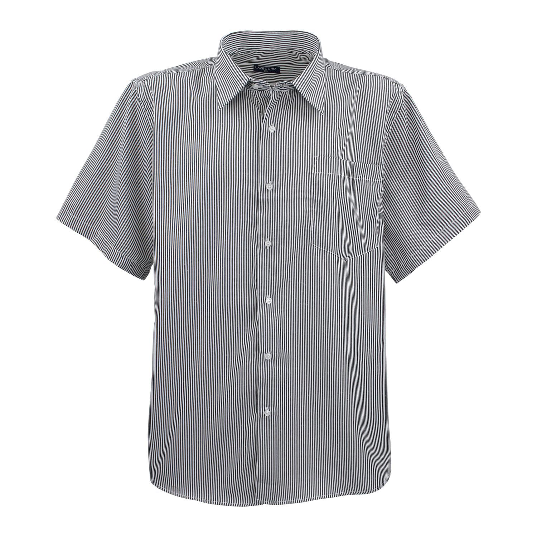 Detailbild zu Gestreiftes Herren Kurzarmhemd in schwarz-weiss von Lavecchia bis Übergröße 7XL