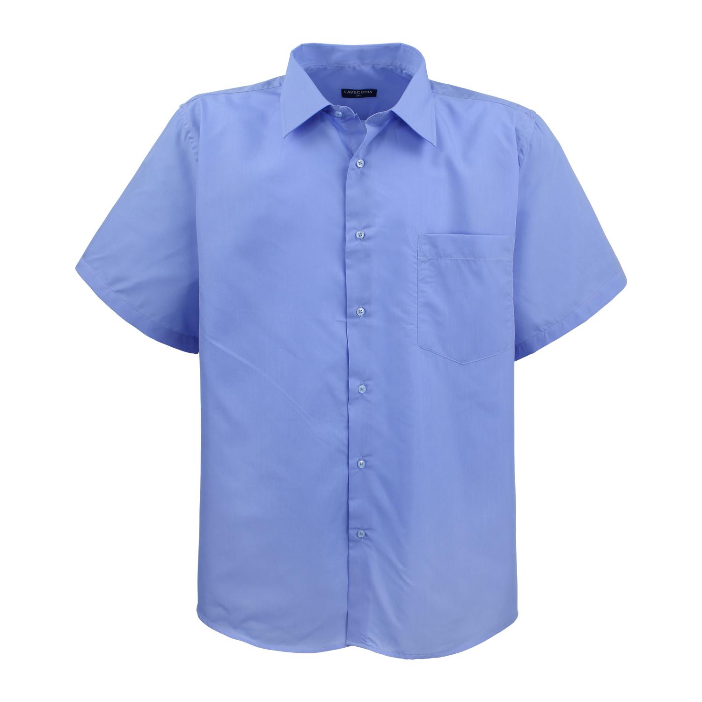 Image de détail de Chemise à manches courtes en bleu de Lavecchia - grandes tailles jusqu'au 7XL