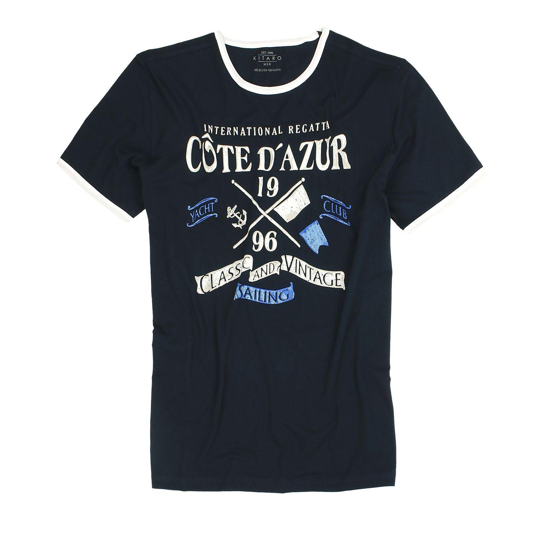 Detailbild zu Dunkelblaues Rundhals T-Shirt für Herren von Kitaro in Übergrößen 3XL - 8XL