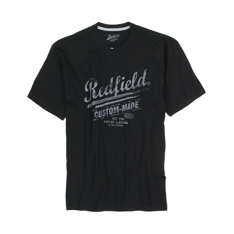 Detailbild zu Bedrucktes T-Shirt mit Rundhalsausschnitt in schwarz von Redfield bis Übergröße 8XL