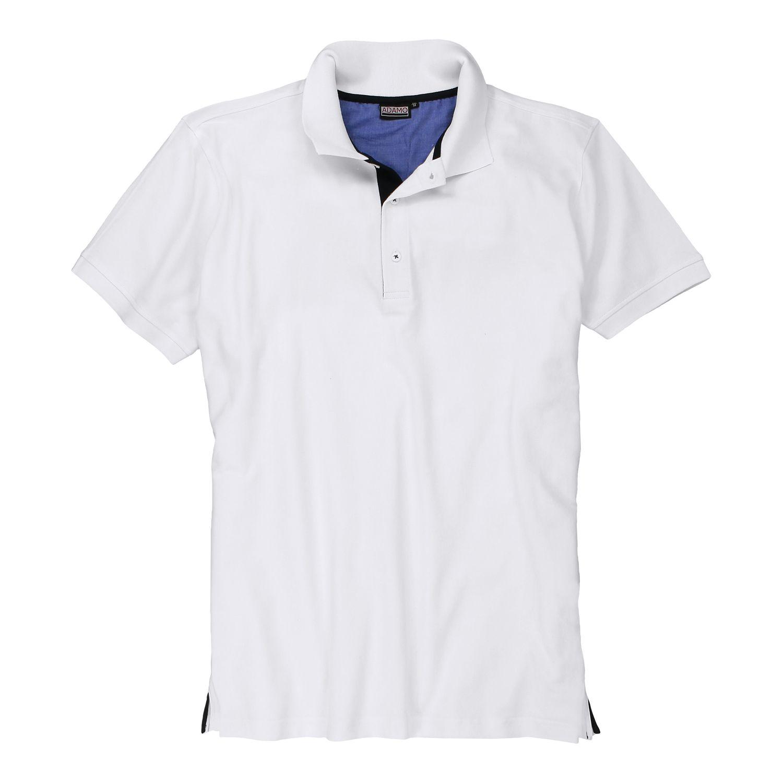 Detailbild zu Weißes Herren Pique Poloshirt kurzarm von Adamo in großen Größen 2XL bis 12XL