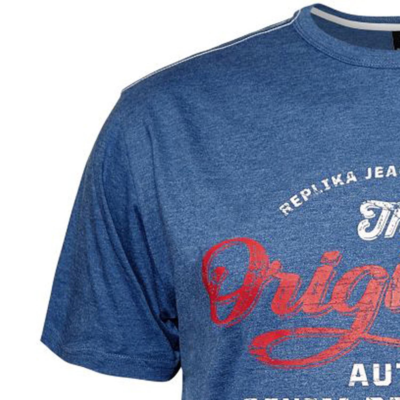 Detailbild zu Blaumeliertes Herren T-Shirt mit Brustaufdruck in großen Größen bis 8XL von North 56°4