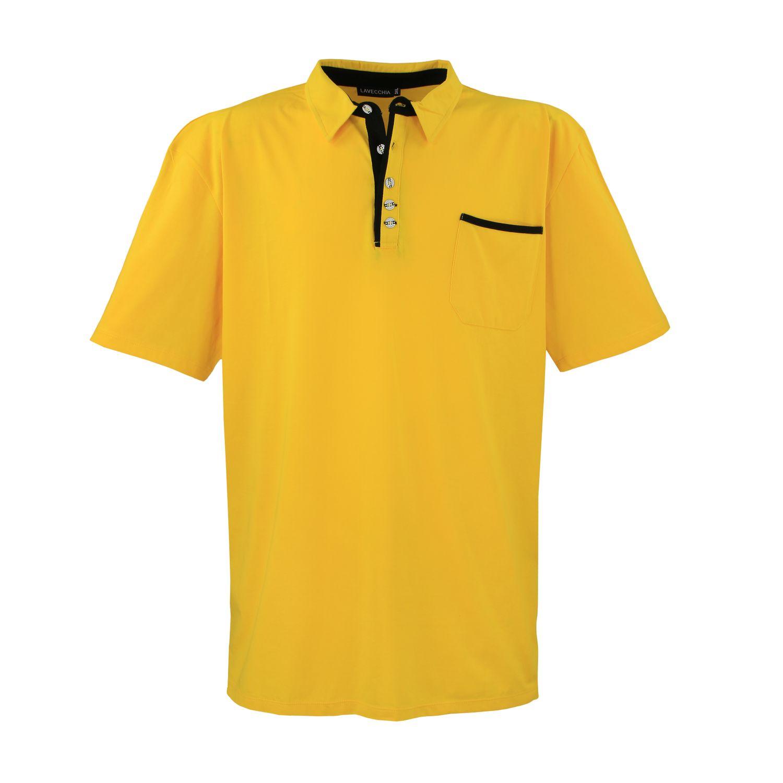 Image de détail de Polo jaune de Lavecchia grandes tailles jusqu'au 8XL